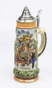 Brauereigespann 1,0l bunt, Spitzdeckel