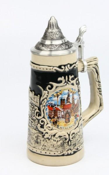 Souvenir schwarz Mühle 0,5l, SB, Spitzdeckel