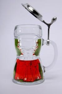 Dirndl Glaskrug Zinndeckel