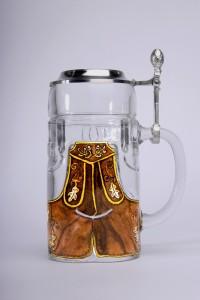 Lederhosen Glas Zinndeckel