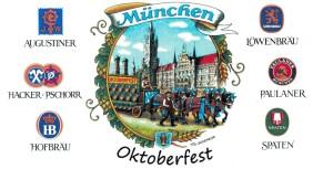 München Rathausgespann Schrift / Brauereilogos